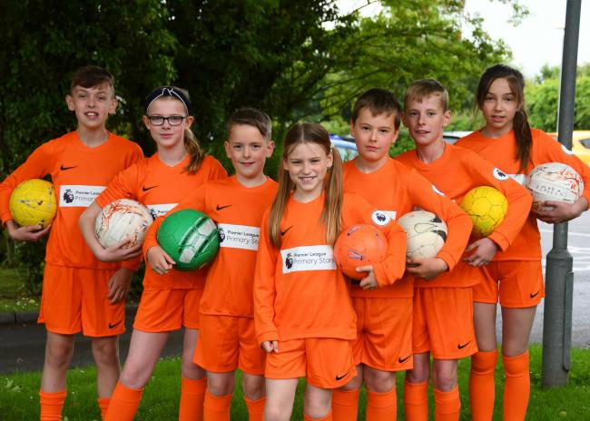 Kirkbymoorside Primary School footballers in their new Premier League Primary Stars football kit 