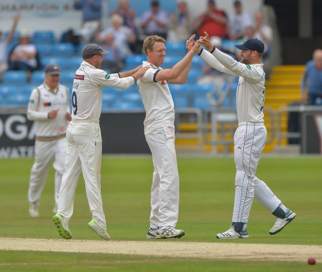 Yorkshire CCC captain Steve Patterson celebrates taking a wicket. Picture: Ray Spencer