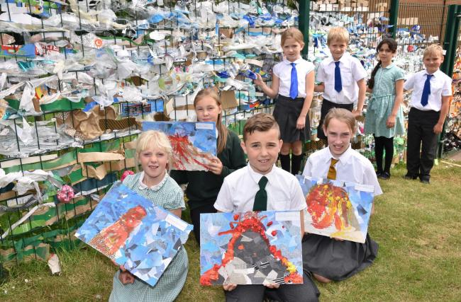 "Pupils from Malton Primary School with their  ""Pollution River"" artwork  part of their project on the Power of Nature   Picture Frank Dwyer"