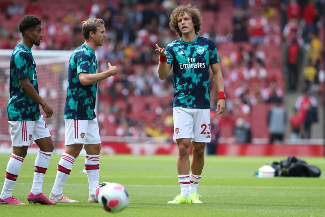 David Luiz, right, in the warm-up ahead of the match against Burnley