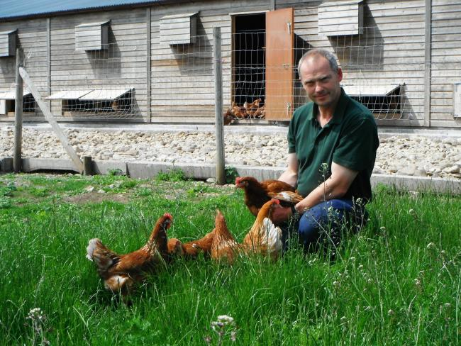 Andrew Hall, who is  celebrating 10 years of rearing laying hens at Wilton Gate Farmhouse in Pickering, which meet the RSPCA Assured standard