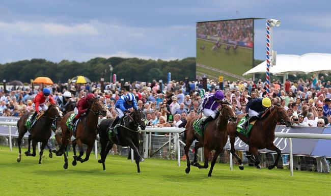 Japan, second right, ridden by Ryan Moore, wins the Juddmonte International Stakes ahead of Crystal Ocean, right, ridden by James Doyle, on day one of the Ebor Festival at York. Picture: Nigel French/PA Wire