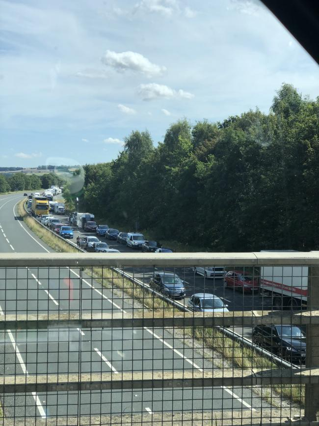 Traffic jams on the A64 after the crash Picture: Jim Calvert
