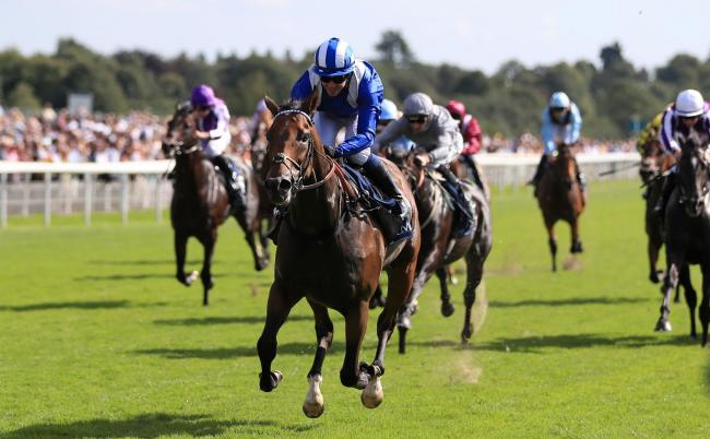 Battaash, ridden by Jim Crowley, wins the Coolmore Nunthorpe Stakes on day three of the Ebor Festival at York Racecourse. Picture: Simon Cooper/PA Wire