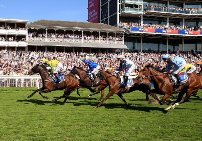 Mustajeer, ridden by Colin Keane, wins the Sky Bet Ebor at York Racecourse. Picture: Clint Hughes/PA Wire