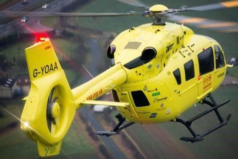 The Yorkshire Air Ambulance helicopter nearly collided with a drone on its way back to base