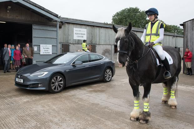Princess Anne watches an electric car being driven past student Katie Golby riding Choco   Picture:Kate Mallender