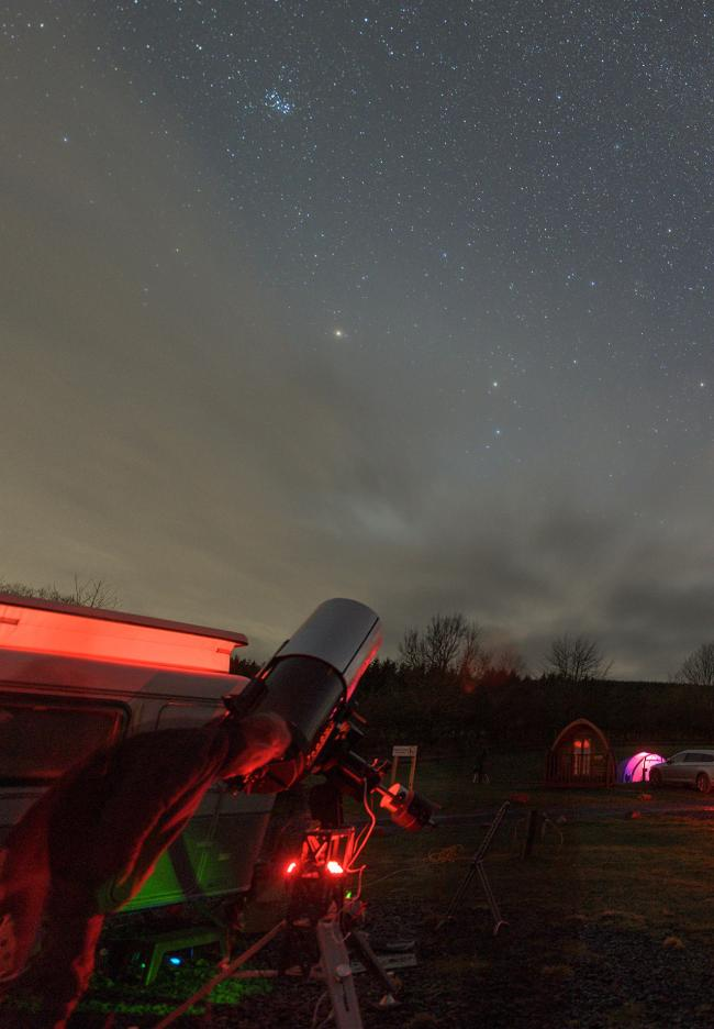 Stargazer Richard Darn spies distant wonders through a powerful telescope   Picture: Dave Williams