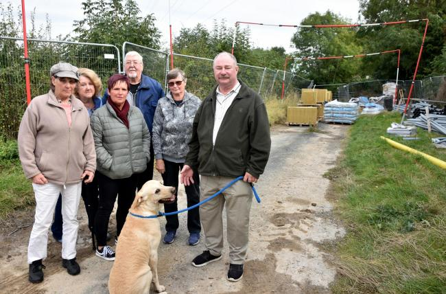 Residents who are angry at the closure of a bridleway linking Rainbow Lane in Malton and Westgate Lane in Old Malton           Picture: Frank Dwyer