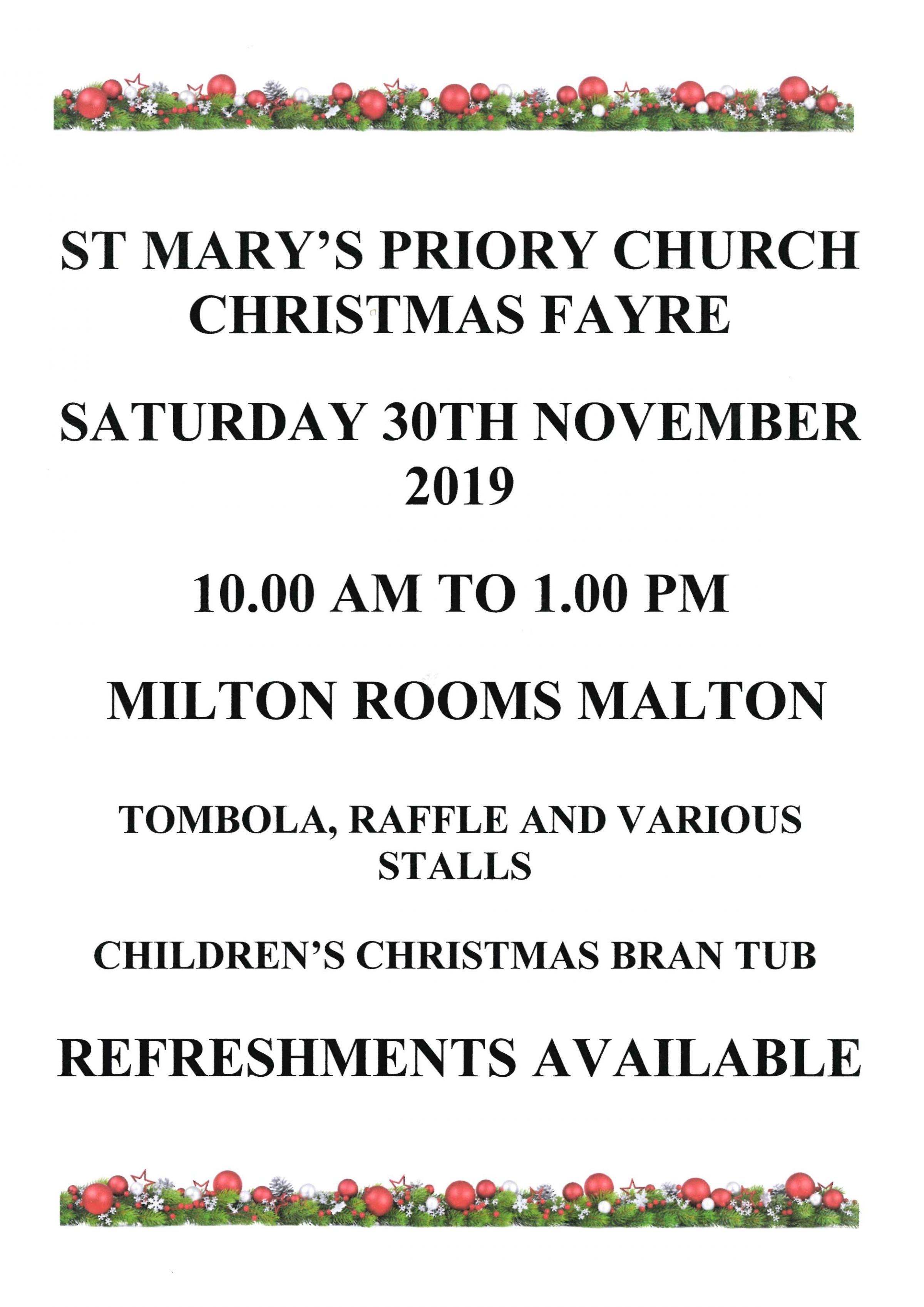 St Mary's Priory Christmas Fayre
