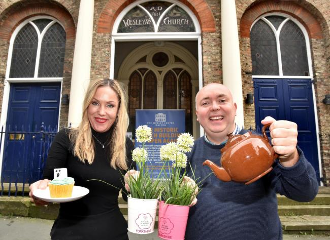 Preparing for next month's Malton In Bloom fundraising cake and coffee event are Gail Cook, Malton Town Council clerk, and Tim Hicks, deputy Malton Town Council clerk       Picture: Frank Dwyer