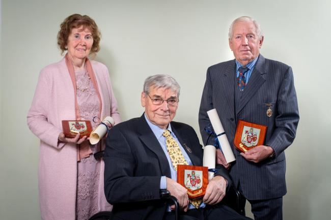 Ryedale District Council's new Honorary Aldermen, from left, Elizabeth Shields, Brian Maud and Robert Wainwright   Picture: Jim Varney