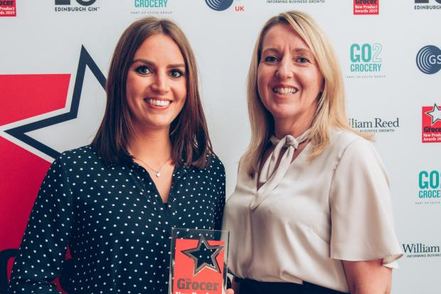 Demi Kenaghan, left, and Nicola Guilliam, of Bannisters Yorkshire Family Farm with The Grocer New Product Award 2019.