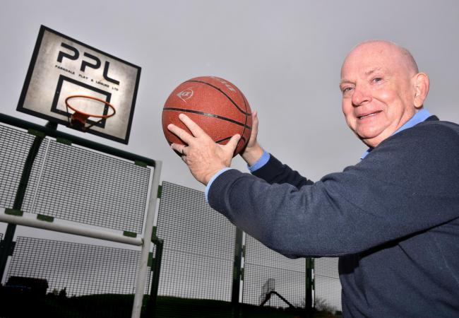 Mayor of Malton, Paul Emberley trys out the new multi-use games area on Rainbow Lane , Malton Picture Frank Dwyer