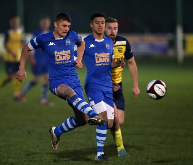 Niall Tilsley in action during the 3-0 defeat to Tadcaster Albion. Picture Pickering Town FC