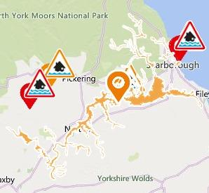 A flooding alert has been issued for the upper River Derwent