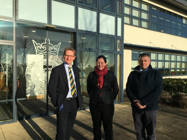 Nigel Pulling, chief executive of the Yorkshire Agricultural Society, welcoming Georgina Fort, chairman of YFYFC and YFYFC trustee Darren Coates outside the new home for Yorkshire's young farmers
