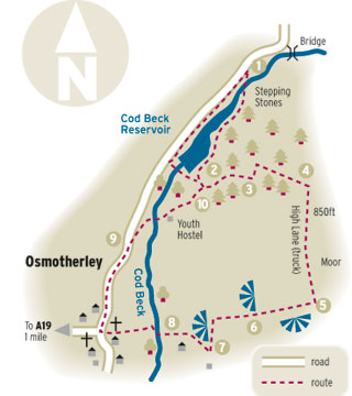 Gazette & Herald: Map of country walk around Osmotherley
