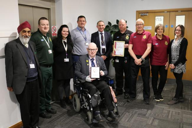 Karamjeet Singh Virdee (Critical Friends Network), Community Defibrillation Officer Ben Rushworth, Quality and Risk Coordinator Brogan Greenhough, Senior Engagement Lead Jason Carlyon, Chief Executive Rod Barnes, Dean Warburton (Volunteer Car Service and