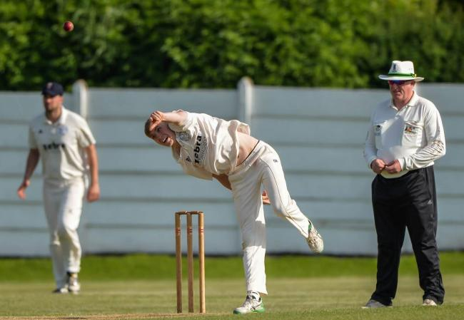 Spin bowler James Logan, pictured in action for Farsley, in action for Farsley. Picture: Ray Spencer
