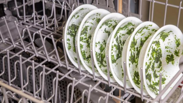 Gazette & Herald: It's hard for your dishwasher to remove dried-on food—and spinach is the worst. If you can't run a full normal cycle right away, at least start a rinse cycle. Credit: Reviewed / Jonathan Chan