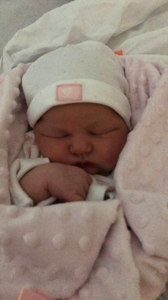 Baby Quinn Chloe Fenton, who was born on her parents' landing afte mum Becky was sent home from hospital