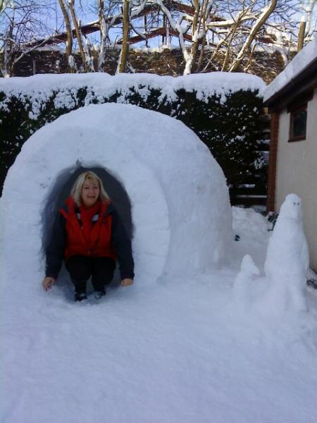 Home alone: mum makes an igloo