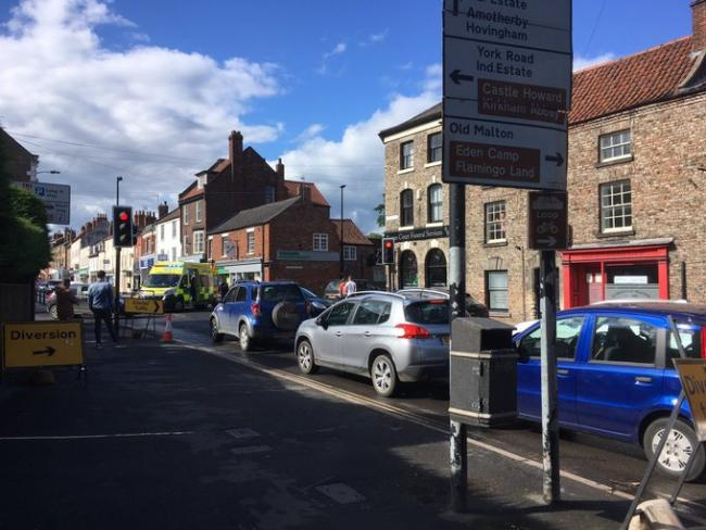 Emergency services at scene of accident in Malton - photo John Gelson