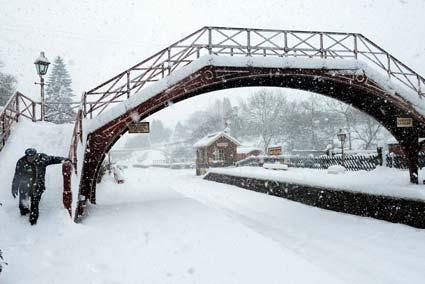 Goathland Station in the snow.