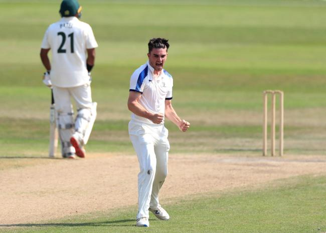 Yorkshire's Jordan Thompson celebrates taking a wicket against Nottinghamshire. Picture: Mike Egerton/PA Wire
