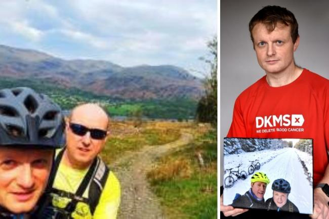 Michael Hill, and his father, David, enjoyed many outdoor pursuits together, pictured left and Michael with a photo of his dad as he encouraged people to register as blood stem cell donors