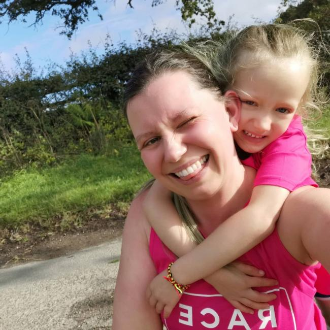 Samantha and her five-year-old daughter Effie, who completed a 5k around Kirkbymoorside in aid of Cancer Research