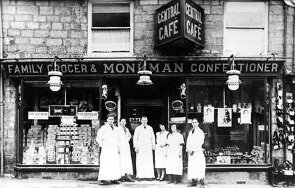 Monkman's, the family grocer in the Market Place, Pickering. Staff are: Gordon Ward, Cyril Monkman, Freddie Monkman, Dorothy Norton, Frances Pickup and J A Dymock.