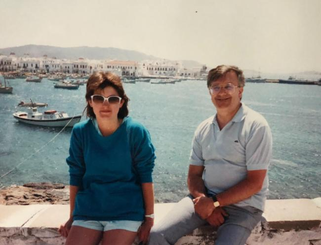 Sarah Walker and her dad on the island of Mykonos in 1986 when her parents visited during her gap year in Greece