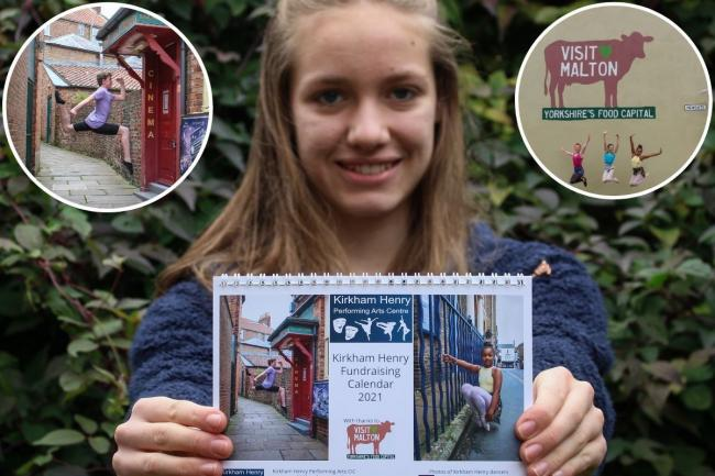 14-year-old Hannah Copley, who has created a fundraising calendar to help Kirkham Henry Performing Arts Centre. Inset, two of her photographs which appear in the calendar