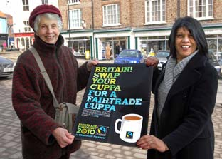 Fairtrade campaigners Alison Hardwick and Celine Wahab launch The Big Swap Event in Malton this week.