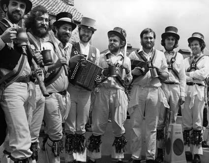 The Ebor Morris Men at the Malton Festival of Folk in 1980.