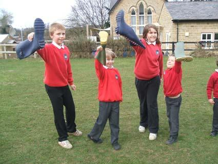 Pupils of Welburn Primary School during their silly sports afternoon.