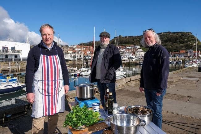Big Ideas by the Sea organising team, from left, are Nick Taylor, Kane Cunningham and John Oxley on the harbourside at Scarborough   Picture: Tony Bartholomew