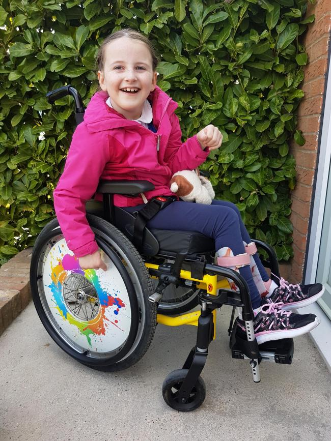 April Benton in her new customised wheelchair