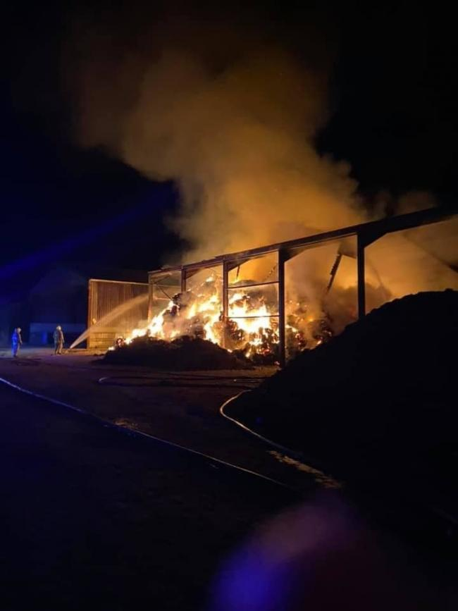 Firefighters have spent much of the night tackling a large barn fire near Old Malton