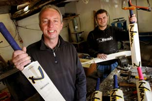 Nick Nixon, left, whose hand-made cricket bat was used during a record-breaking innings, pictured with his assistant Wayne Dawson in their Malton workshop