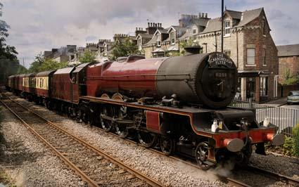The Princess Elizabeth locomotive steams past Grosvenor Terrace, York, on the way to Scarborough.