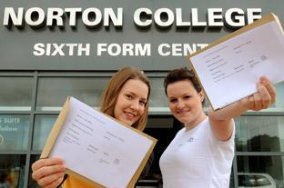 Norton College students Milly Armstrong, left, and Millie Witty celebrate their A-level results.
