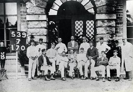 Players line up for a photograph at Hovingham Cricket Ground in 1887.