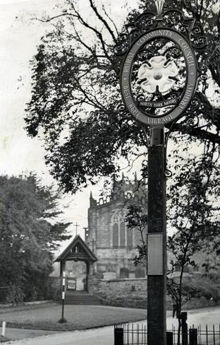 The main street at Coxwold, pictured in 1968, when Lady Downe unveiled the plaque to mark the village's success in the Best Kept Village Competition.