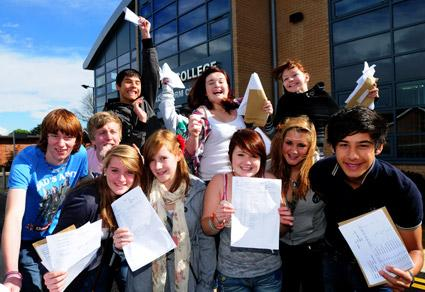 Norton College pupils celebrate their GCSE success.
