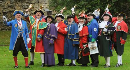 Competitors line up before the  Malton and Norton Town Crier Competition, which took place as part of Malton's first literature festival.