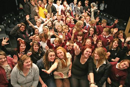 Students at Norton College who sang for charity in a day of karaoke for Children in Need