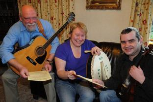Organisers of the Malton and Norton Folk Festival, David and Rowena Garner, left, and Nick Thompson get preparations  underway
